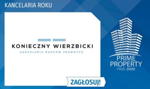 Kancelaria Konieczny Wierzbicki wśród TOP5 nominowanych Prime Property Prize